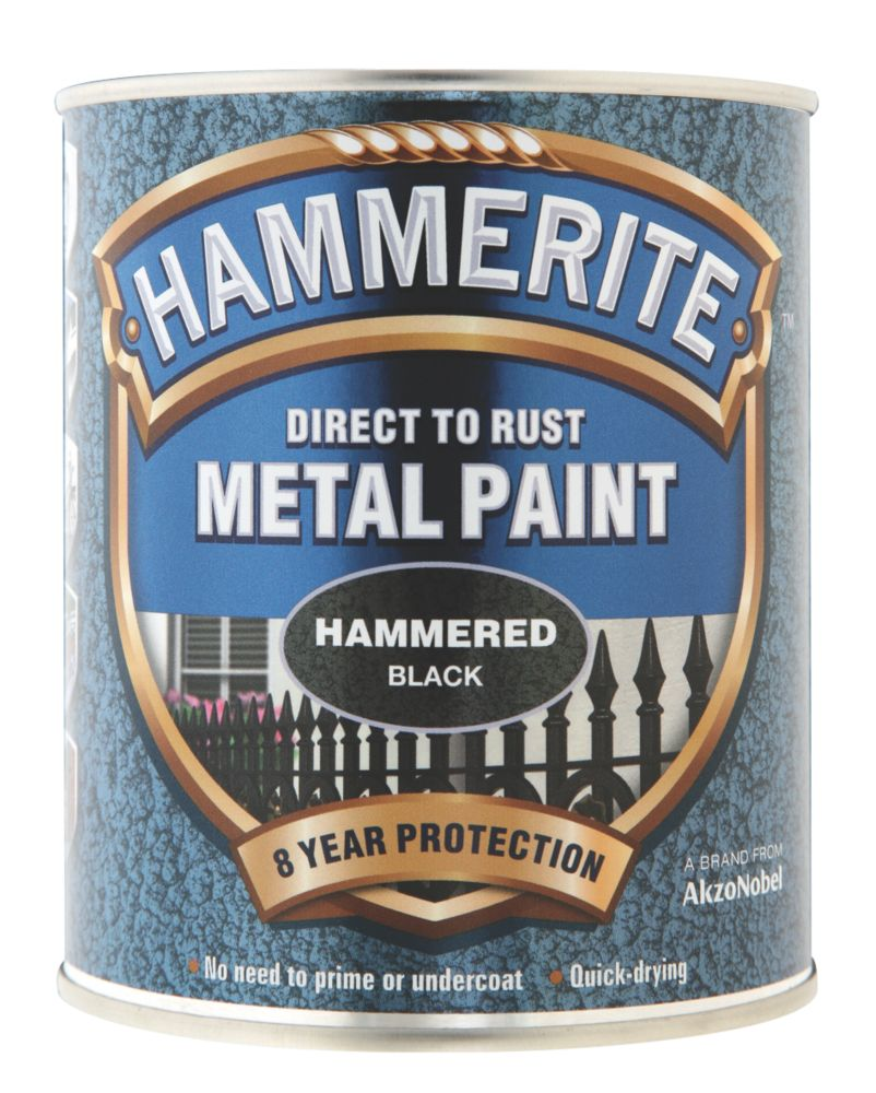 Image of Hammerite Hammered Metal Paint Black 750ml