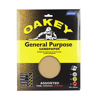 Image of Oakey Assorted Sandpaper Unpunched 280 x 230mm Assorted Grit 10 Pack