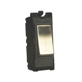 Image of Varilight Z2DG201DS 20A Double Pole Switch Brushed Steel