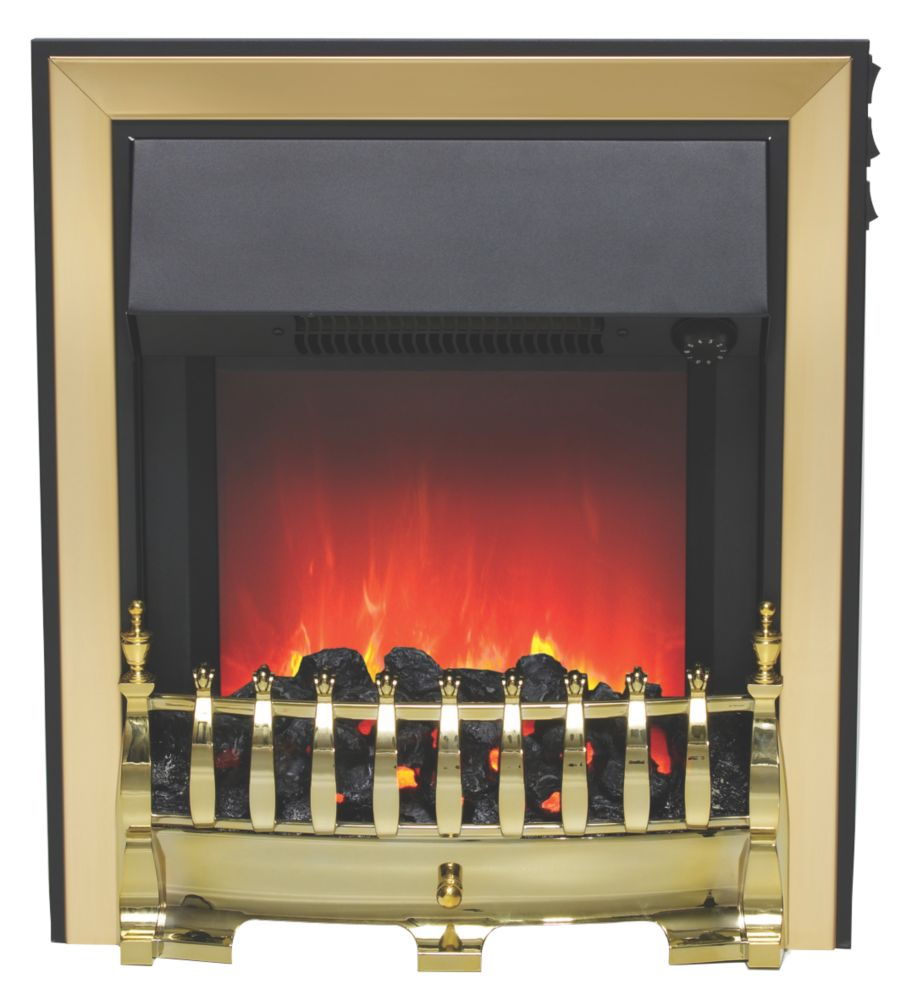 Image of Be Modern Fazer Black / Brass Switch Control Inset Electric Fire