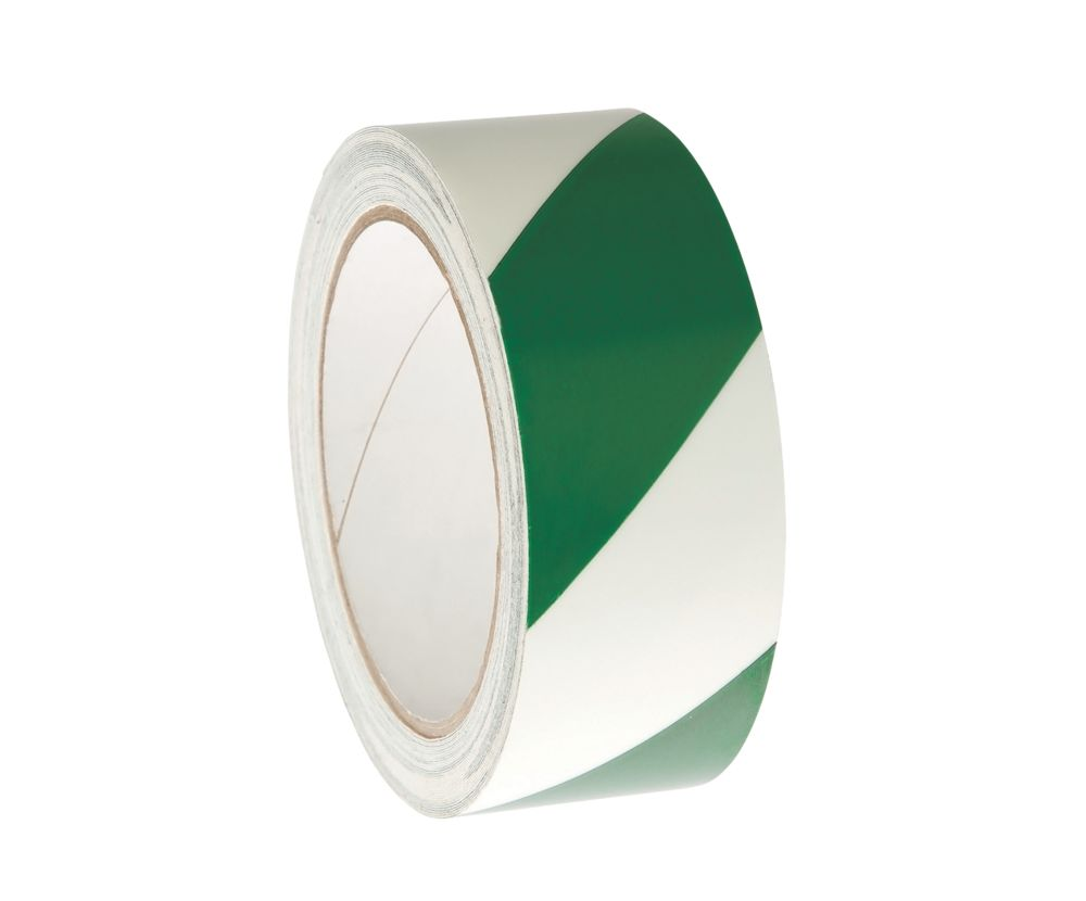 Image of Nite-Glo Chevron Safety Tape Luminescent / Green 40mm x 10m