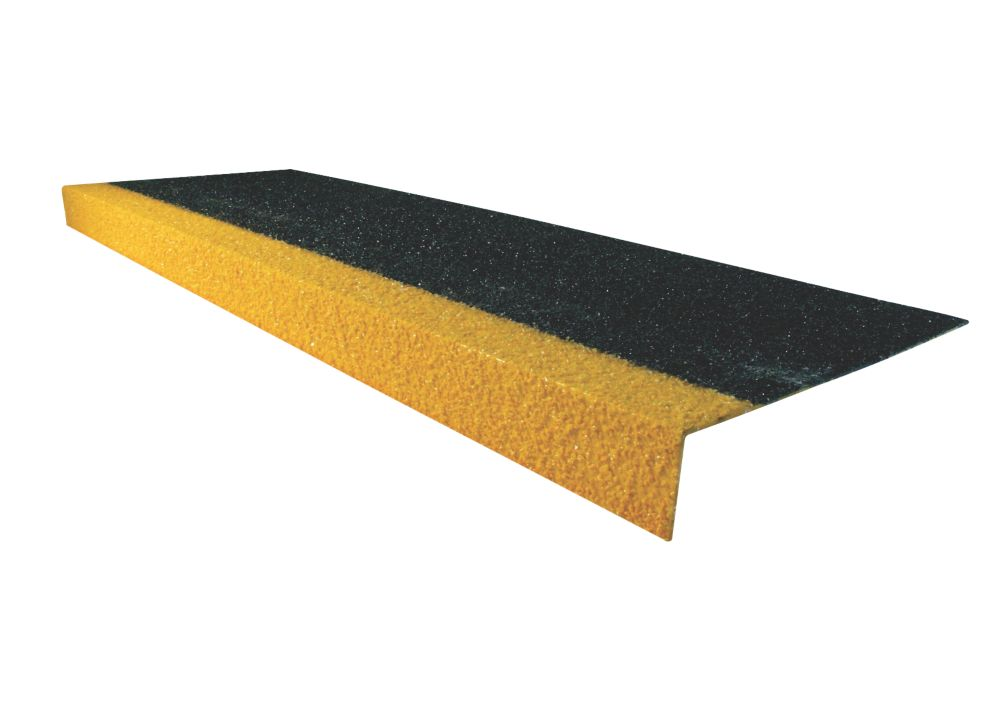 Image of COBA Europe Cobragrip Black & Hi-Vis Yellow GRP Anti-Slip Stair Tread Cover 345 x 55 x 1000mm