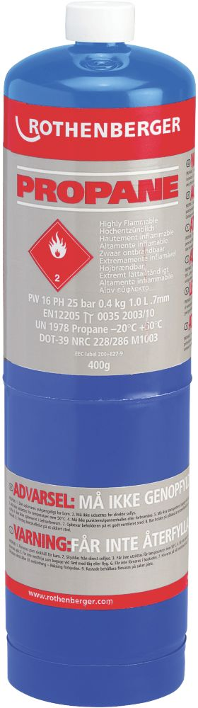 Image of Rothenberger Propane Disposable Gas Cylinder 400g Pack of 12