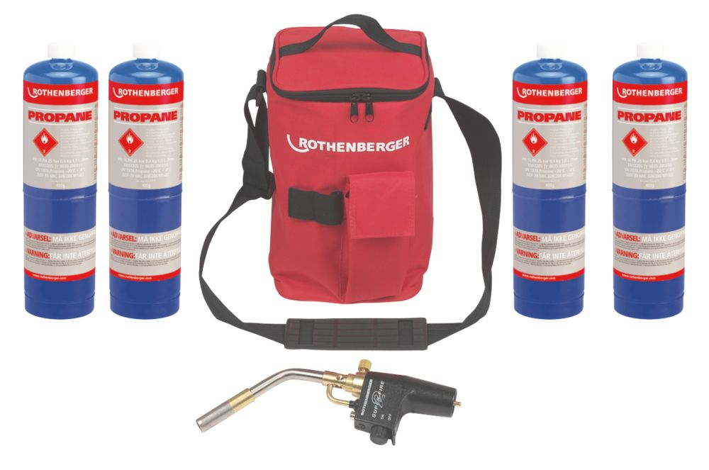 Image of Rothenberger Hot Bag with Super Fire & 4 x Propane Gas Cylinders