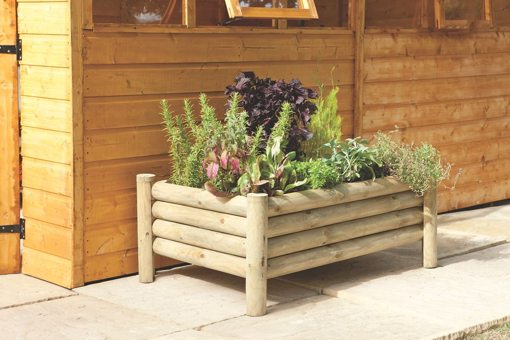 Image of Forest Rectangular Raised Log Planter 1000 x 670 x 400mm