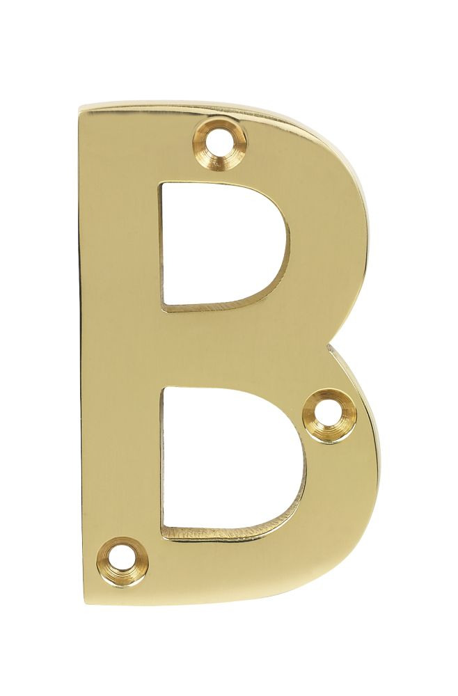 Image of Door Letter B Polished Brass Effect 75mm