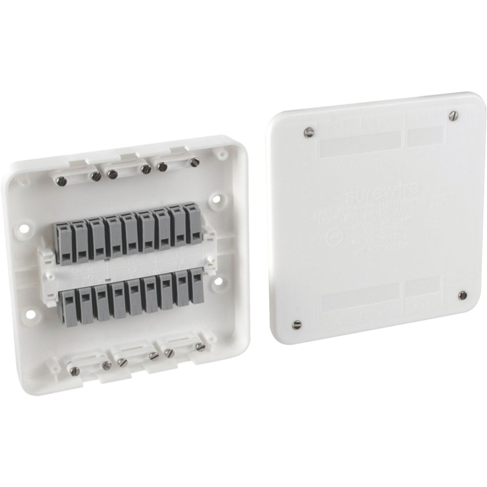Image of Surewire SW2L-MF 16A 2-Way Pre-Wired Junction Box White