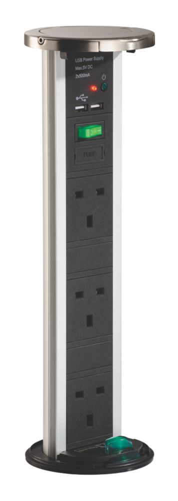 Image of Sensio PowerPod 13A 3-Gang Switched Pop-Up Power Socket + 0.5A 2G USB Charger Stainless Steel