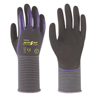 Image of Towa ActivGrip CJ-568 Nitrile Finger Coated Gloves Black/Purple X Large