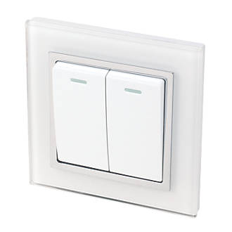 Image of Retrotouch Crystal 10A 2-Gang 2-Way Light Switch White Glass