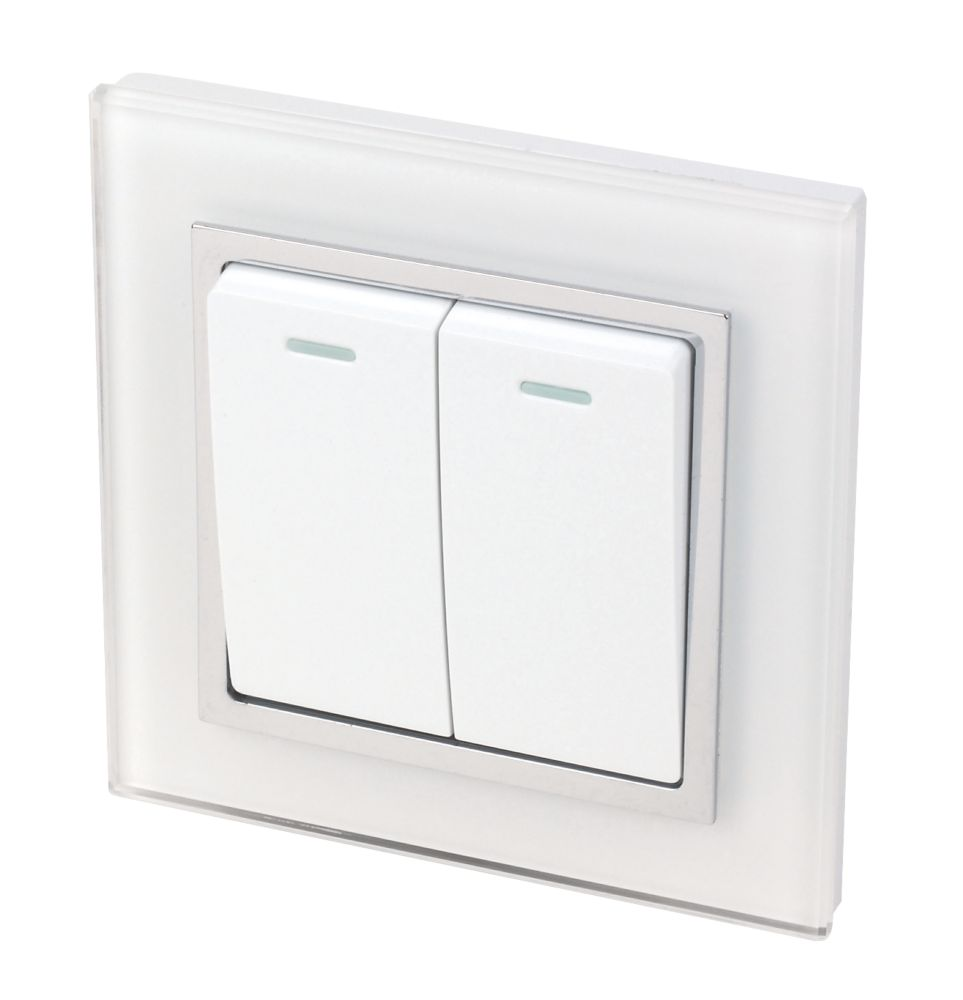 Image of Retrotouch Crystal 10A 2-Gang 2-Way Light Switch Tru White Glass