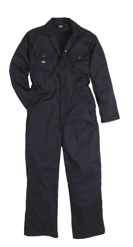 """Image of Dickies Economy Stud Front Coverall Navy Medium 40-42"""" Chest 30"""" L"""