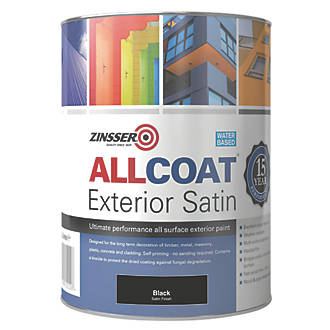 Image of Zinsser All Coat Exterior Paint Black 1Ltr
