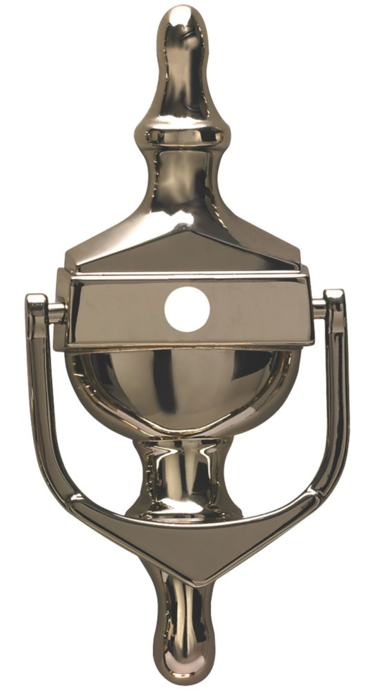 Image of Fab & Fix Classic Door Knocker w/Spyhole Hardex Gold 76 x 162mm