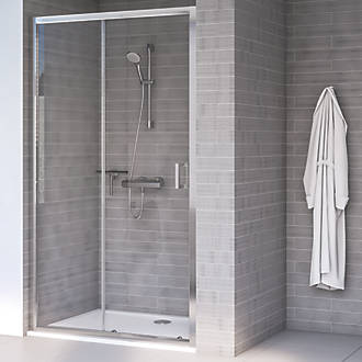 Aqualux Edge 8 Sliding Shower Door Polished Silver 1200 X 2000mm