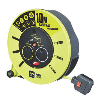 Image of PRO XT 13A 2-Gang 10m Cable Reel + 2.1A 2G USB Charger 240V