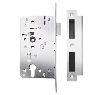 Image of Briton Stainless Steel Euro Profile Mortice Escape Sashlock - Square Forend 94mm Case - 60mm Backset