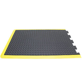 Image of COBA Europe Bubblemat Anti-Fatigue End Mat Black / Yellow 0.9m x 0.6m