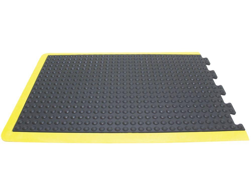 Image of COBA Europe Bubblemat Anti-Fatigue End Mat Black / Yellow 0.9m x 0.6m