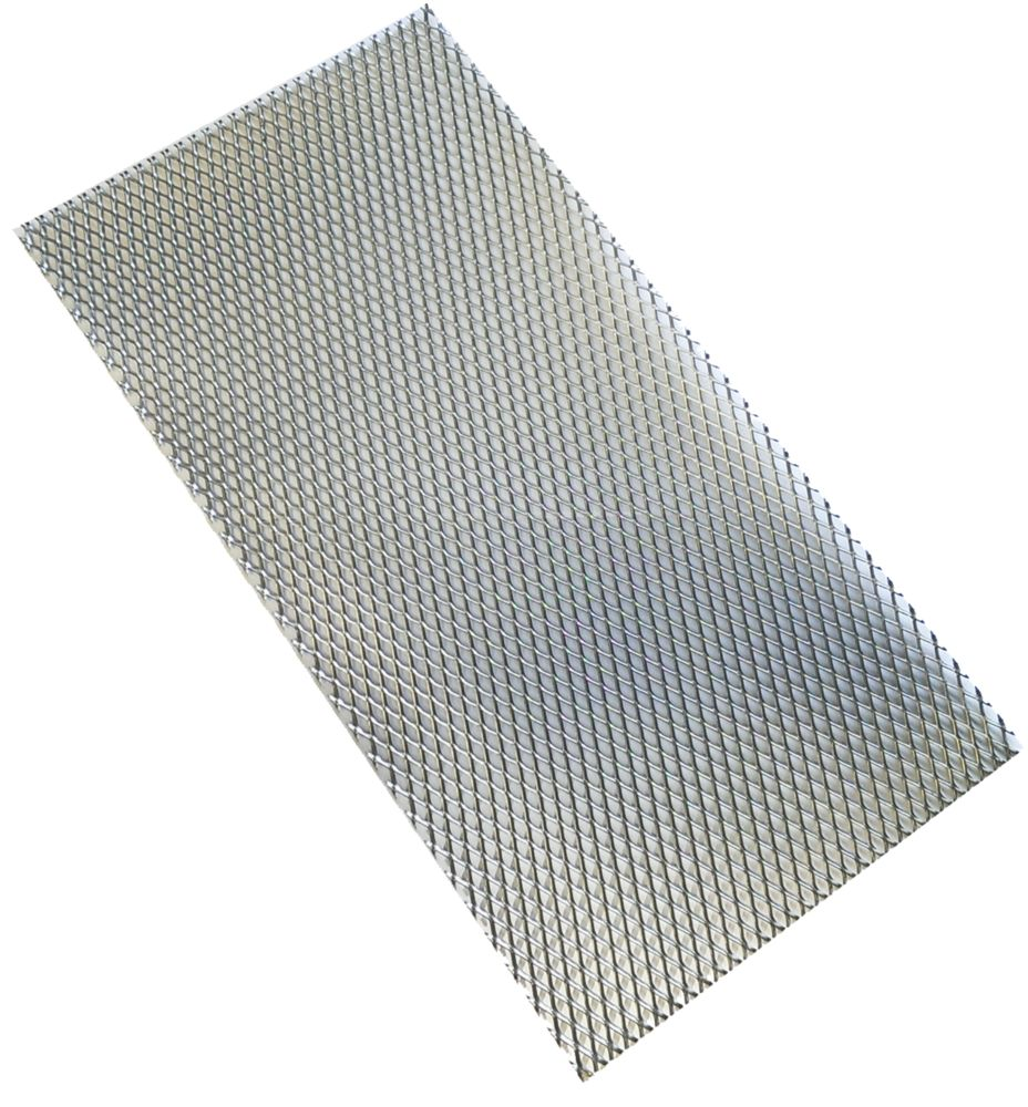 Image of Alfer 6 x 3.5mm Perforated Stretched Metal Sheet / Grille Steel 250 x 500mm
