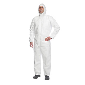 "Image of DuPont Proshield 20 Type 5/6 Disposable Coverall White Large 39"" Chest 31"" L"