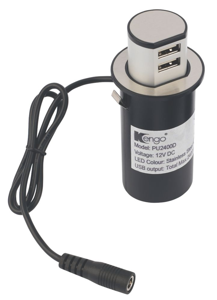 Image of Kengo 2.4A 2G Pop-Up Desktop USB Charger Stainless Steel