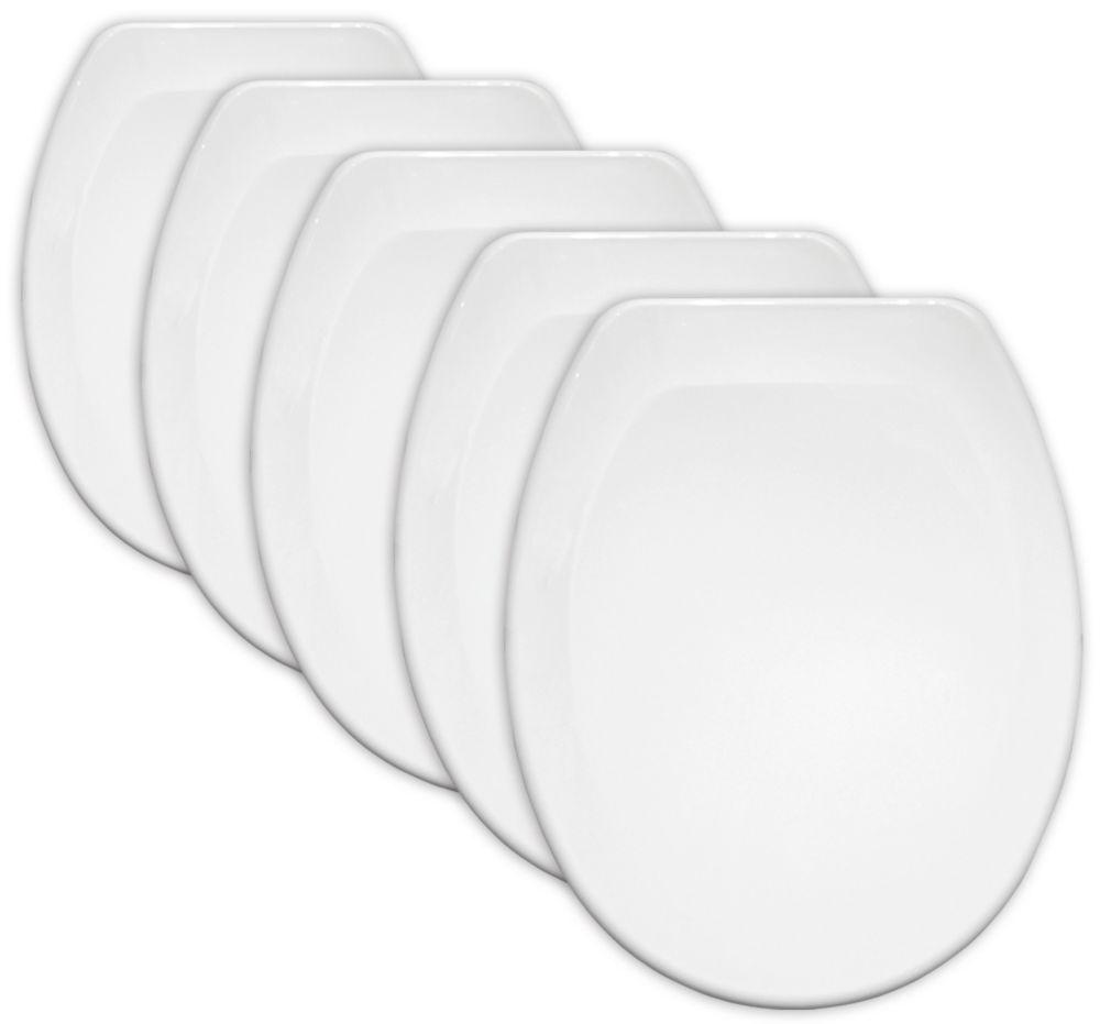 Image of Carrara & Matta Jersey Standard Closing Toilet Seats Thermoplastic White 5 Pack