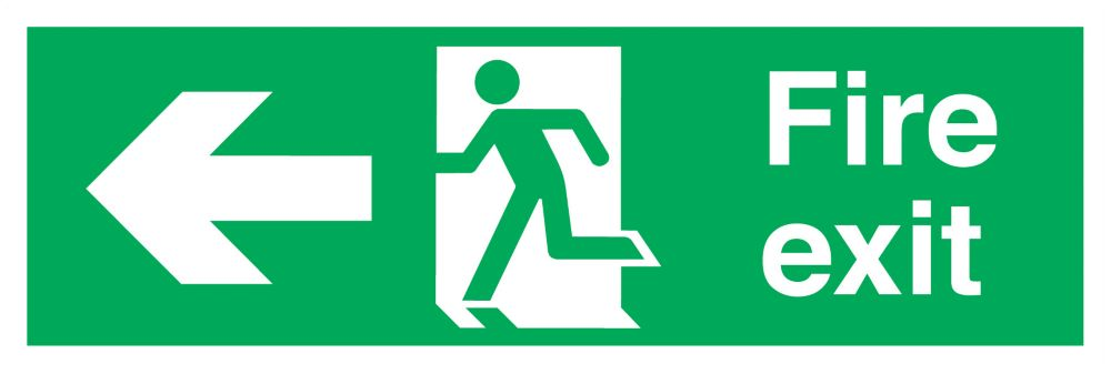 """Image of Fire Exit"""" Left Arrow Signs 150 x 450mm 50 Pack"""