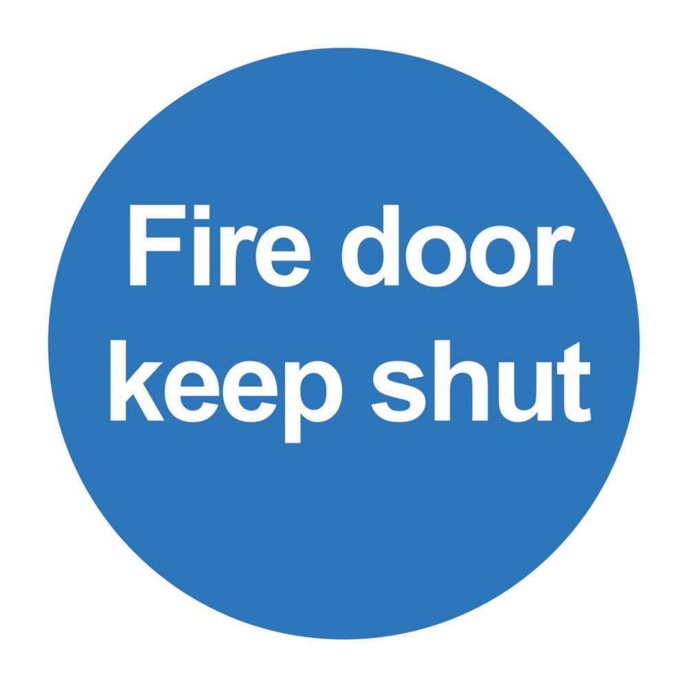"Image of Fire Door Keep Shut"" Signs 100 x 100mm 50 Pack"