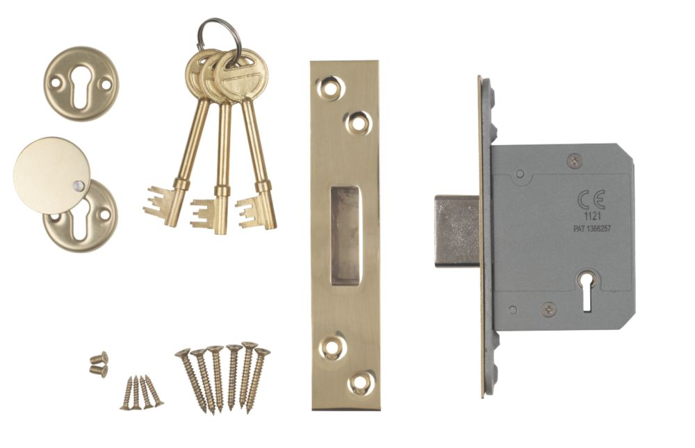 """Image of Smith & Locke BS 5-Lever Mortice Deadlock Stainless Brass 2"""" / 64mm"""
