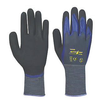 Image of Towa ActivGrip CJ-568 Nitrile Foam Finger Dipped Gloves Purple Large