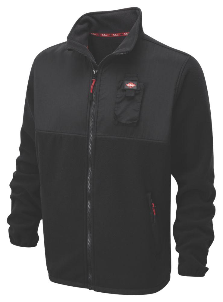 "Image of Lee Cooper Fleece Jacket Black X Large 65"" Chest"
