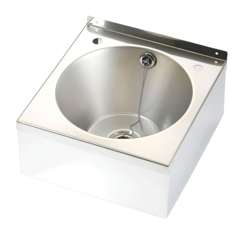 Image of Franke Model B Wall-Hung Wash Basin 2 Tap Hole Stainless Steel -Bowl 345 x 185mm