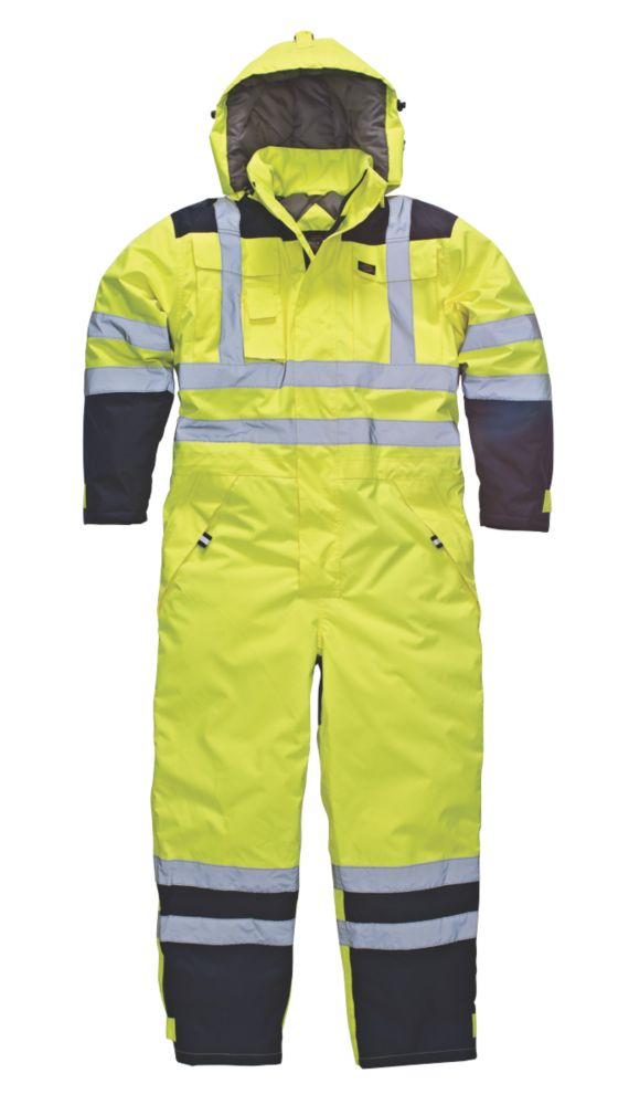 """Image of Dickies SA7000 Hi-Vis Waterproof Safety Coverall Yellow XL 50"""" Chest 30"""" L"""