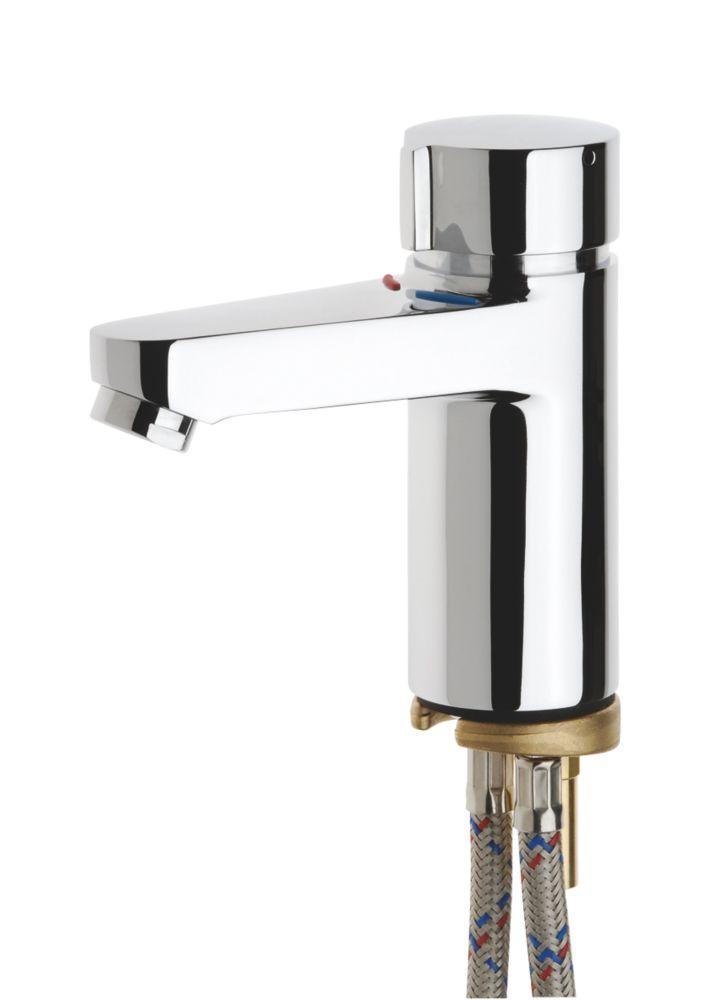 Image of Franke Aquamix-C Self-Closing Bathroom Basin Mixer Tap