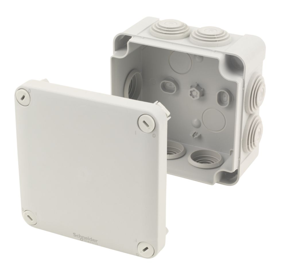 Image of 7-Entry Junction Box with Knockouts Grey 105 x 105 x 55mm