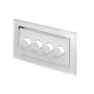 Image of Retrotouch 4-Gang 2-Way LED Rotary LED Dimmer Switch White Glass with White Inserts
