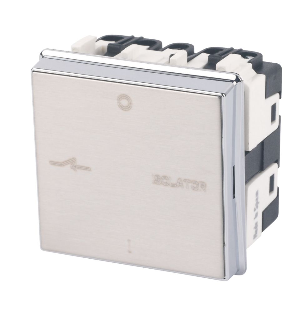 Image of ABB 10A 1-Gang 3-Pole Fan Isolator Switch Brushed Stainless Steel