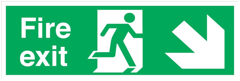 """Image of Fire Exit"""" Down Right Arrow Signs 150 x 450mm 50 Pack"""