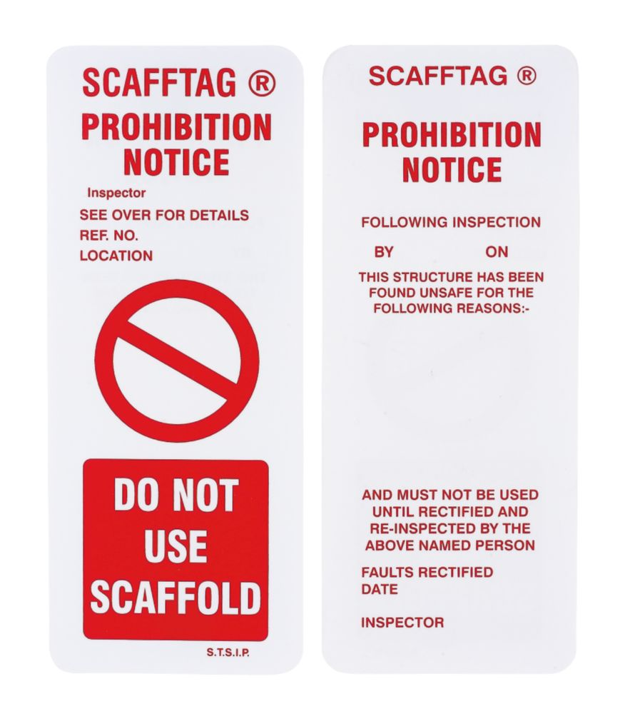 Image of Scafftag Scaffold Prohibition Inserts 110 x 50mm 10 Pack