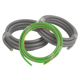Image of Prysmian 6181Y & 6491X Grey & Green/Yellow 1-Core 25mm² Meter Tails Cable 3m Coil