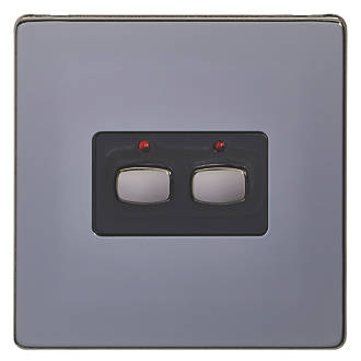 Image of Energenie 2-Gang 2-Way 1A Smart On/Off Light Switch Black Nickel