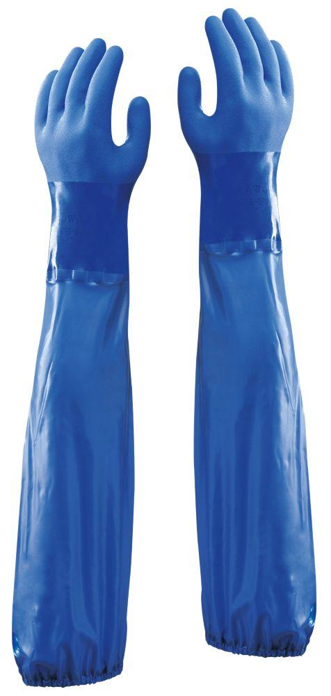 """Image of Showa 690 Chemical Hazard 24"""" Gauntlets Blue Large"""