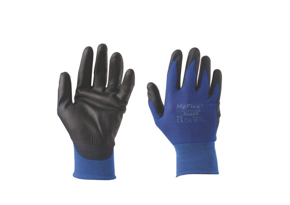 Image of Ansell HyFlex HyFlex 11-618 Ultra-Lightweight PU Palm Gloves Blue Large