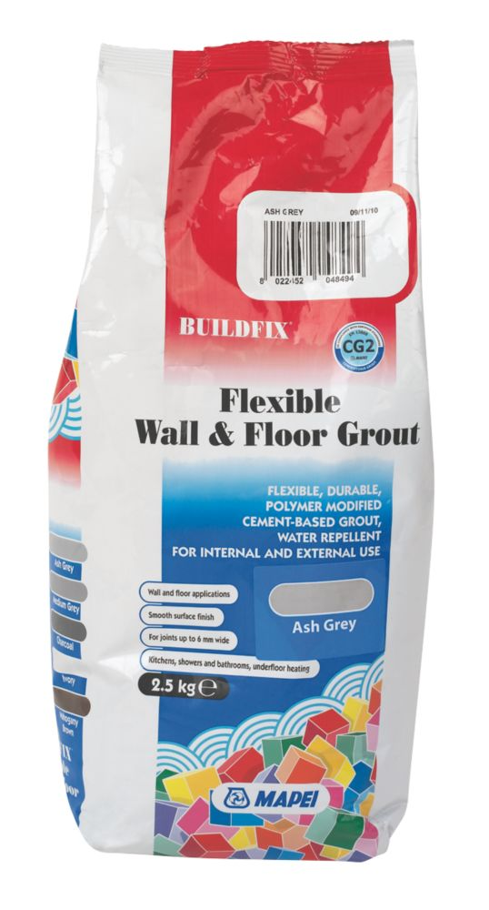 Image of Mapei BuildFix Flexible Wall & Floor Grout Ash Grey 2.5kg