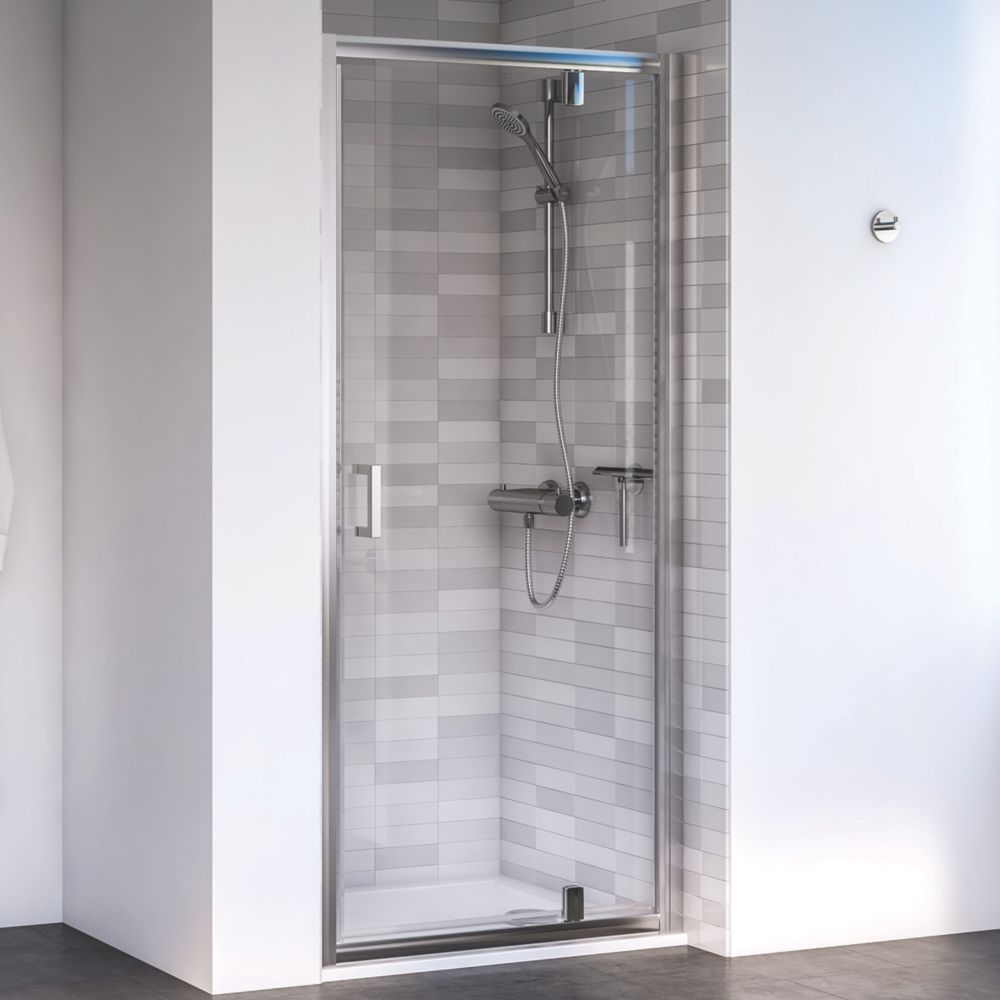Image of Aqualux Edge 6 Pivot Shower Door Polished Silver 800 x 1900mm