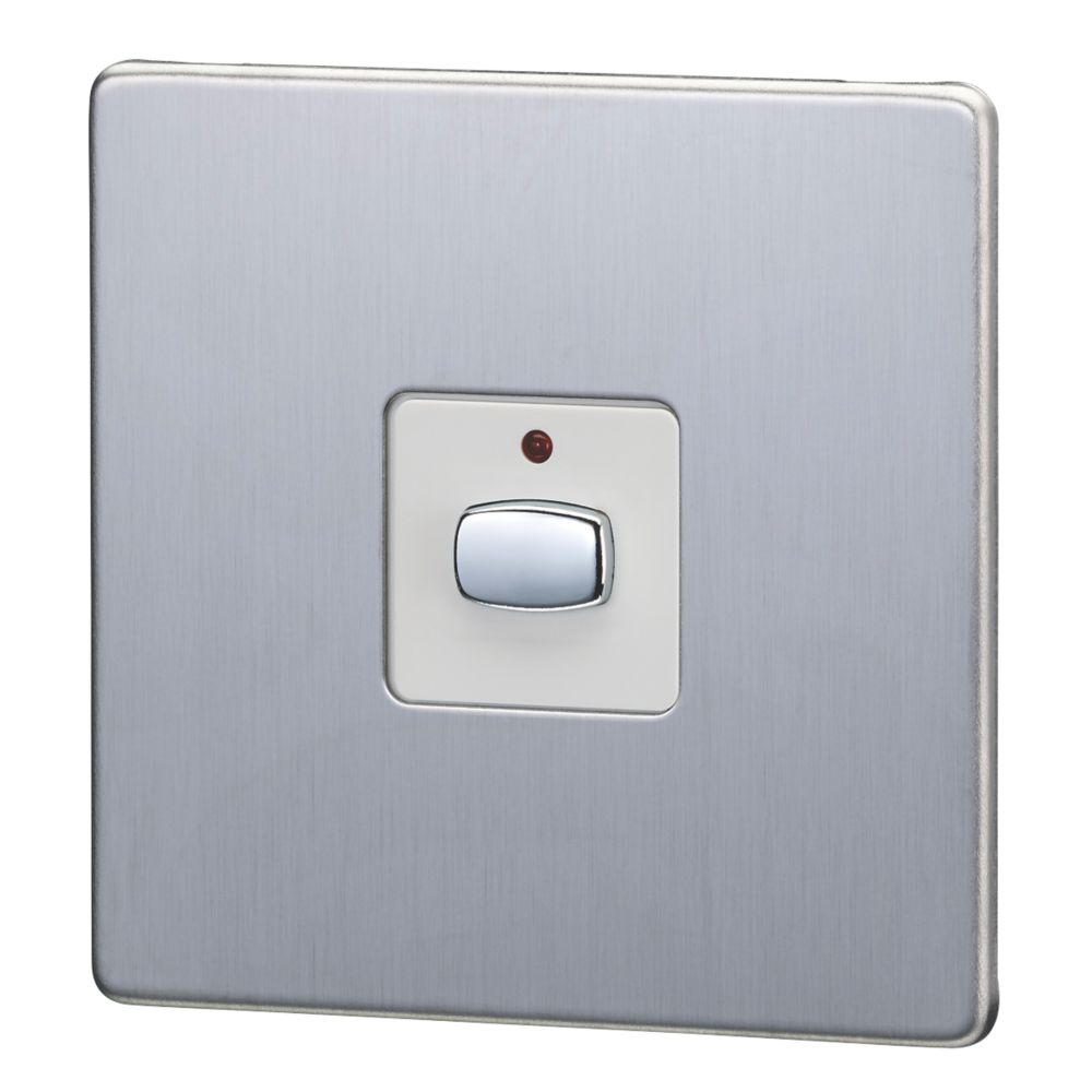 Image of Energenie MiHome 1-Gang 1-Way Light Switch Brushed Stainless Steel