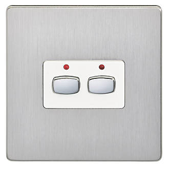 Image of Energenie 2-Gang 2-Way 1A Smart On/Off Light Switch Brushed Steel