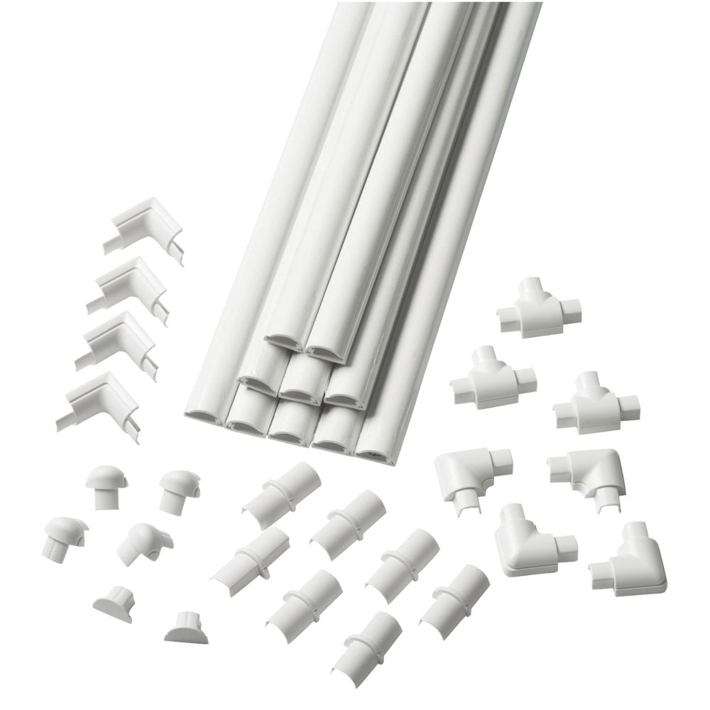 Image of D-Line Micro Decorative Trunking & Accessories White 16mm x 8mm x 2m 34 Piece Set