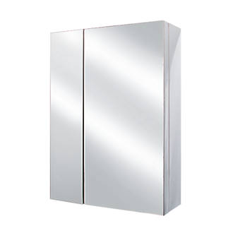 Image of Cassellie 2-Door Bathroom Mirror Cabinet Chrome Gloss 430 x 157 x 590mm